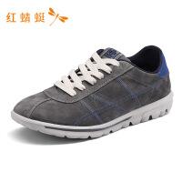 红蜻蜓男鞋新款春秋潮流时尚简约系带跑步鞋圆头户外休闲运动鞋男