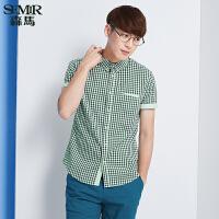 森马短袖衬衫 夏装 男士方领格子纯棉拼接男装衬衣韩版潮