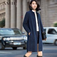 Amii[极简主义]初上市价399冬新品立领拉链开衩纯色羊毛呢子外套