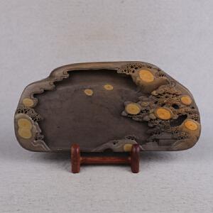 中国非物质文化遗产传承人群 钟景锐作品《众星拱照》 砚 梅花坑
