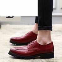 潮牌 新款男鞋青少年男生皮鞋发型师西装鞋英伦松糕鞋高跟上班鞋男鳄鱼纹黑色鞋潮流个性休