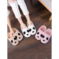 新款室内软底居家时尚棉拖鞋女 亲子款拖鞋厚底防滑棉拖鞋 韩版可爱卡通熊猫保暖棉鞋