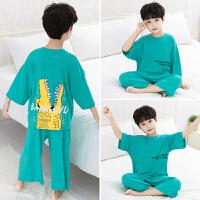 男童家居服套装儿童睡衣夏季装薄款宝宝空调服