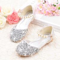 女童凉鞋儿童包头平底水晶鞋中大童表演银粉色宝宝软底皮鞋