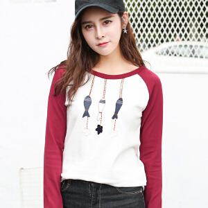 秋季长袖T恤女装韩版宽松学生百搭秋装上衣时尚新款打底衫潮