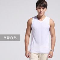 夏季运动背心男士健身速干冰丝薄款镂空坎袖透气网眼篮球无袖T恤 白色 (宽肩)