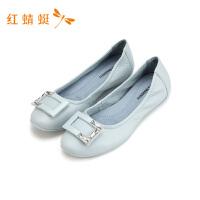 红蜻蜓女鞋韩版百搭小皮鞋女英伦风工作平底时尚休闲单鞋