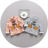 宝宝加绒加厚打底衫新秋冬装韩版女童童装1-2-3岁长袖加绒上衣T恤