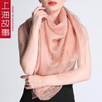 上海故事秋冬女士围巾丝巾真丝双面羊毛围巾披肩长丝巾