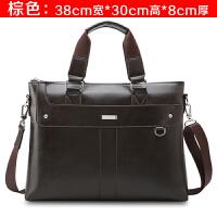 新款手提包男士公文包横版商务包休闲包斜挎包男包电脑包包 棕色 单包