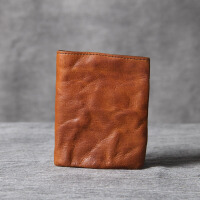 简约复古头层牛皮小钱包男女手工原创真皮短夹零钱包短款钱包