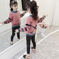女童装儿童加厚加绒水貂绒打底上衣潮小女孩毛衣冬装