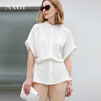 【3折到手价123元】Amii极简心机设计感雪纺衫女2018夏新款欧货潮露背五分袖纯色上衣