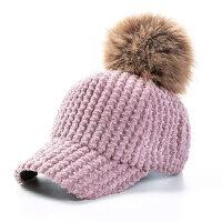 毛绒毛线棒球帽毛球潮保暖防风宝宝小孩帽子男儿童鸭舌帽