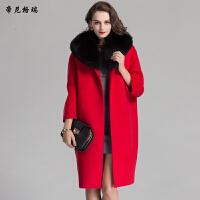 秋冬女士中长款红外套狐狸领九分袖双面羊毛呢大衣M-616348