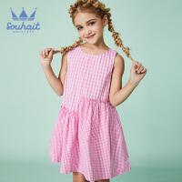 【3件3折:83.7元】souhait水孩儿童装夏季新款连衣裙背心裙儿童格子连衣裙SHNXGD12CZ532