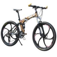自行车27速铝合金山地车碟刹微转折叠车 白蓝色