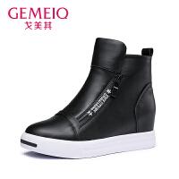 【到手109】戈美其冬季新品休闲时装靴坡跟运动鞋圆头学生板鞋时尚复古靴子潮