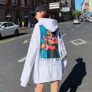 欧若珂  2018秋冬新款韩版潮学生宽松bf中长款连帽后背印花卫衣外套女