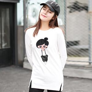 秋冬装新款韩版卡通人物绣花长袖T恤女装打底衫宽松学生上衣
