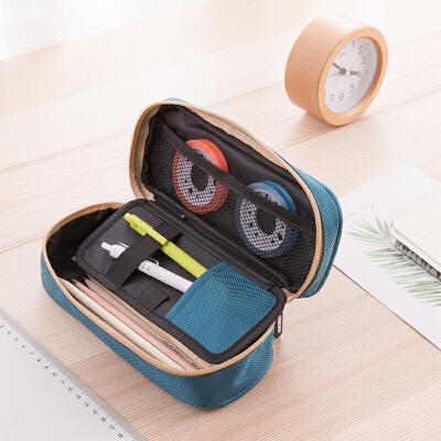 得力笔袋 帆布简约笔袋 大容量化妆包收纳袋 66760 大容量 颜色随机布料材质,经久耐用
