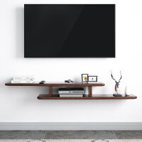 家逸 北欧实木客厅机顶盒壁挂卧室墙上置物架简约现代电视柜隔板