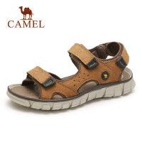 camel骆驼男鞋2019夏季新款休闲沙滩鞋轻盈舒适真皮魔术贴凉鞋户外防滑