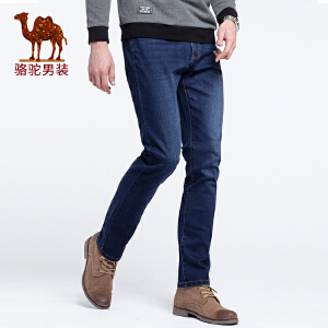 骆驼男装 2018秋季新款男青年时尚中腰韩版直筒纯色磨白牛仔长裤