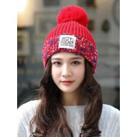 韩版加绒保暖时尚针织帽彩色条纹女女毛线帽子围巾两件套