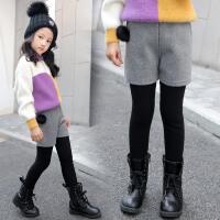 秋冬装韩版儿童裤子中大童女童打底裤加绒假两件短裤