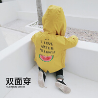 韩版童装潮流秋装男童两面穿拉链衫儿童连帽风衣宝宝外套男1-3岁
