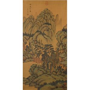 W1422 王时敏《烟岚松岭图》(华�恰⑼羰可鳌⒌热颂岚危�并有多位名家收藏印章)
