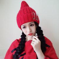 韩版尖尖顶奶嘴针织帽卷边粗线麻花帽子女巫毛线帽可爱
