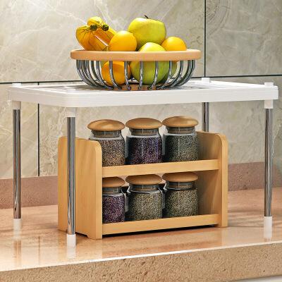 蜗家置物架层架收纳架储物架浴室客厅办公室厨房两层多用途 加宽加固 拆装简单