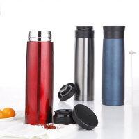 普润 500ML全304不锈钢车载杯 便携式双层保温杯保温瓶PR123红色