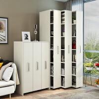 可移动书柜带轮推拉组合抽屉式隐藏书架储物柜防尘收纳柜新款书橱 2米高4列 暖白色 0.6米以下宽