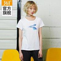 【100元4件】361度女装秋季新款短T恤白色时尚休闲透气休闲吸湿排汗短袖