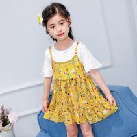 2018新款假两件韩版女童碎花裙小女孩公主短袖背带裙儿童裙子女夏