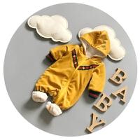 婴儿连体衣秋冬加绒宝宝冬装加厚新生儿爬爬服0-3个月男冬季哈衣6