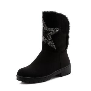 O'SHELL法国欧希尔新品冬季151-812韩版磨砂绒面平跟女士雪地靴