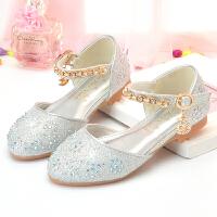 女童公主鞋小孩水晶钻平底软底单鞋表演出走秀晚礼服儿童银色皮鞋