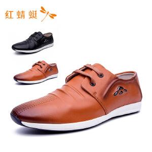 【专柜正品】红蜻蜓新款圆头系带装饰纯色休闲男单鞋