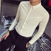 男士长袖衬衫韩版修身绅士休闲纯色衬衣发型师寸衣男寸衫