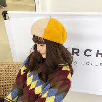 甜美可爱拼色帽子女 文艺复古羊毛贝雷帽女 撞色画家帽 新款休闲蓓蕾帽子