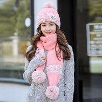 女士针织毛线帽围巾一体 新款加绒加厚保暖帽子女 韩版百搭毛球针织围巾两件套