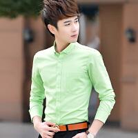 春秋季男士长袖衬衫男装韩版修身款白色衬衣长袖青年帅气寸衫男潮