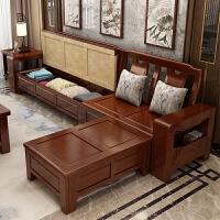 实木沙发组合客厅现代新中式家具冬夏两用沙发布艺沙发木沙发 组合