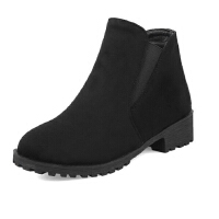 ELEISE美国艾蕾莎新品秋冬170-Z38韩版磨砂绒面平底鞋女士短靴切尔西靴