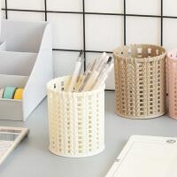 镂空小笔筒多功能塑料学生桌面收纳盒筒办公收纳笔桶文具
