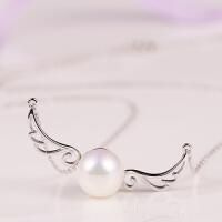 梦 梵雅925纯银天使之翼正圆无瑕淡水珍珠吊坠锁骨项链女
